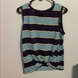 Blue stripped women's large tank top